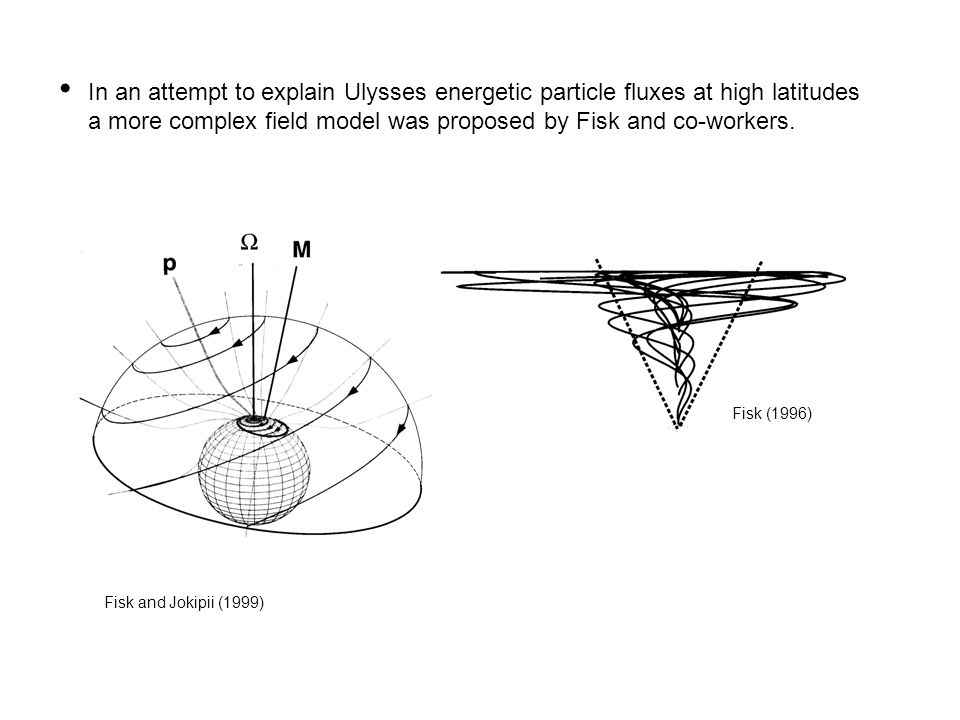 In an attempt to explain Ulysses energetic particle fluxes at high latitudes a more complex field model was proposed by Fisk and co-workers.