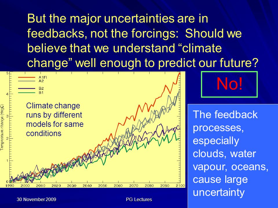 But the major uncertainties are in feedbacks, not the forcings: Should we believe that we understand climate change well enough to predict our future