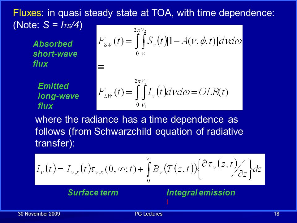 Fluxes: in quasi steady state at TOA, with time dependence: (Note: S = ITS/4)