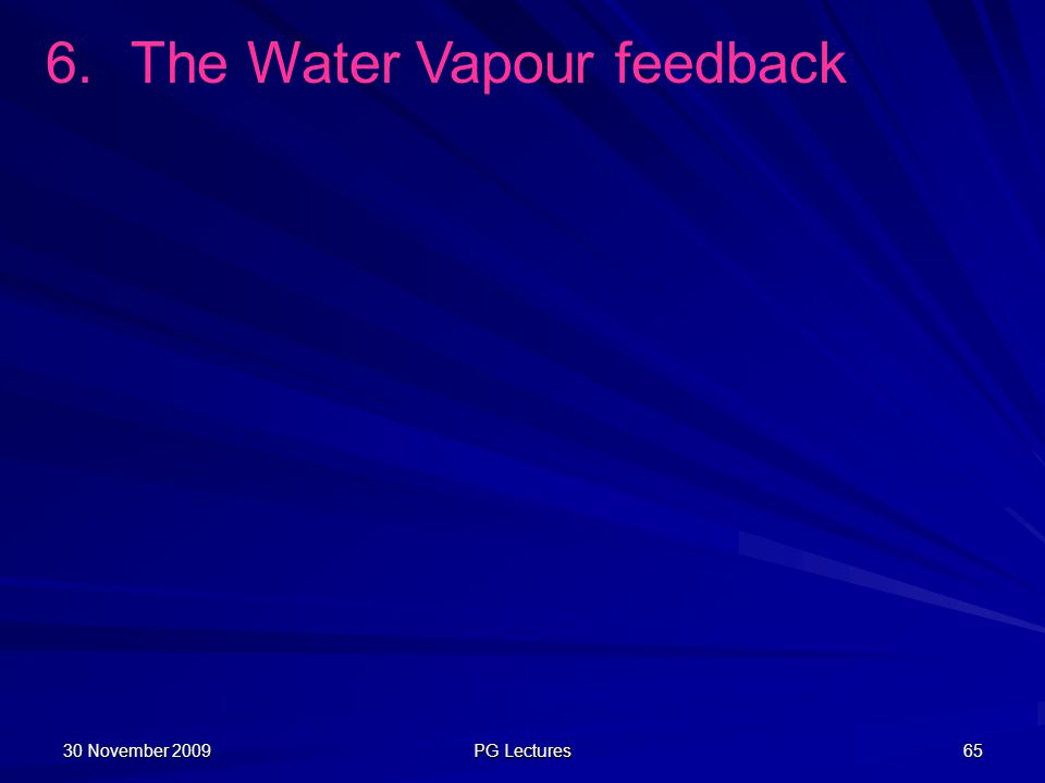 The Water Vapour feedback