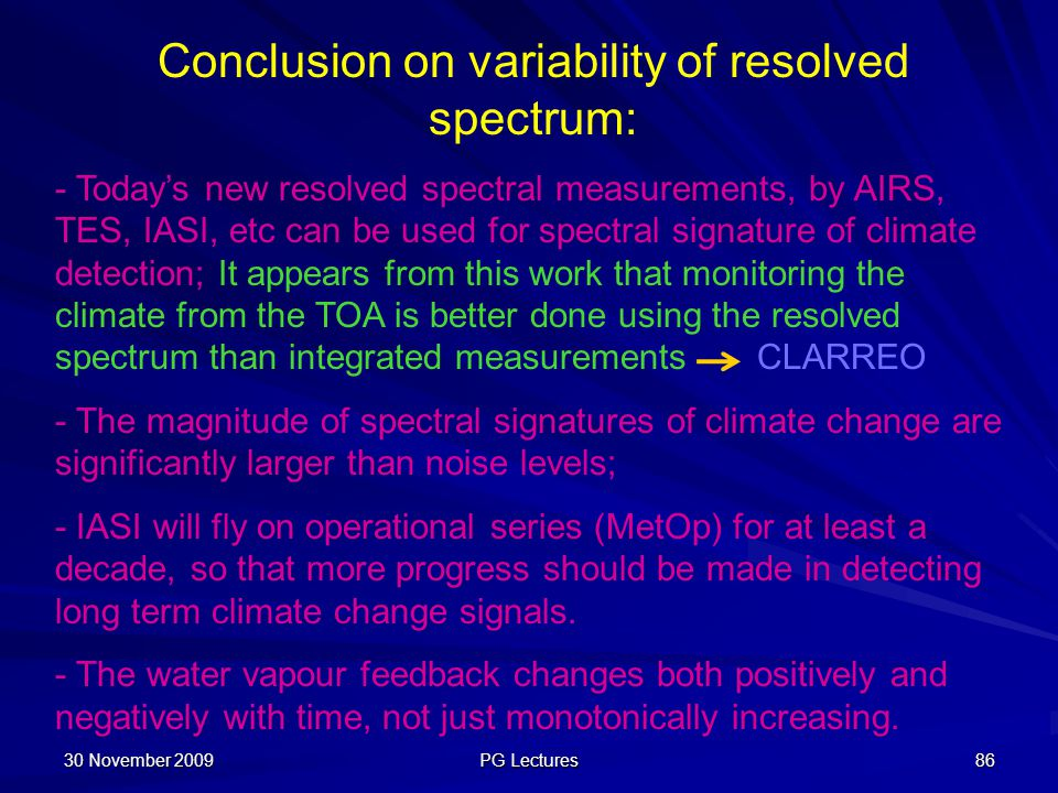 Conclusion on variability of resolved spectrum: