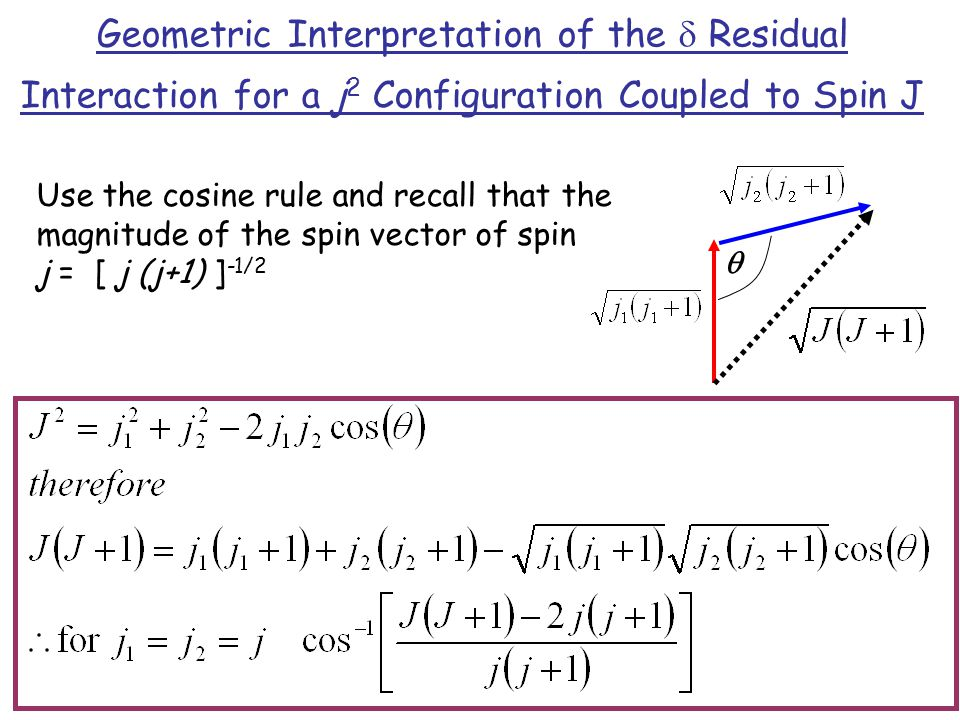 Geometric Interpretation of the d Residual Interaction for a j2 Configuration Coupled to Spin J