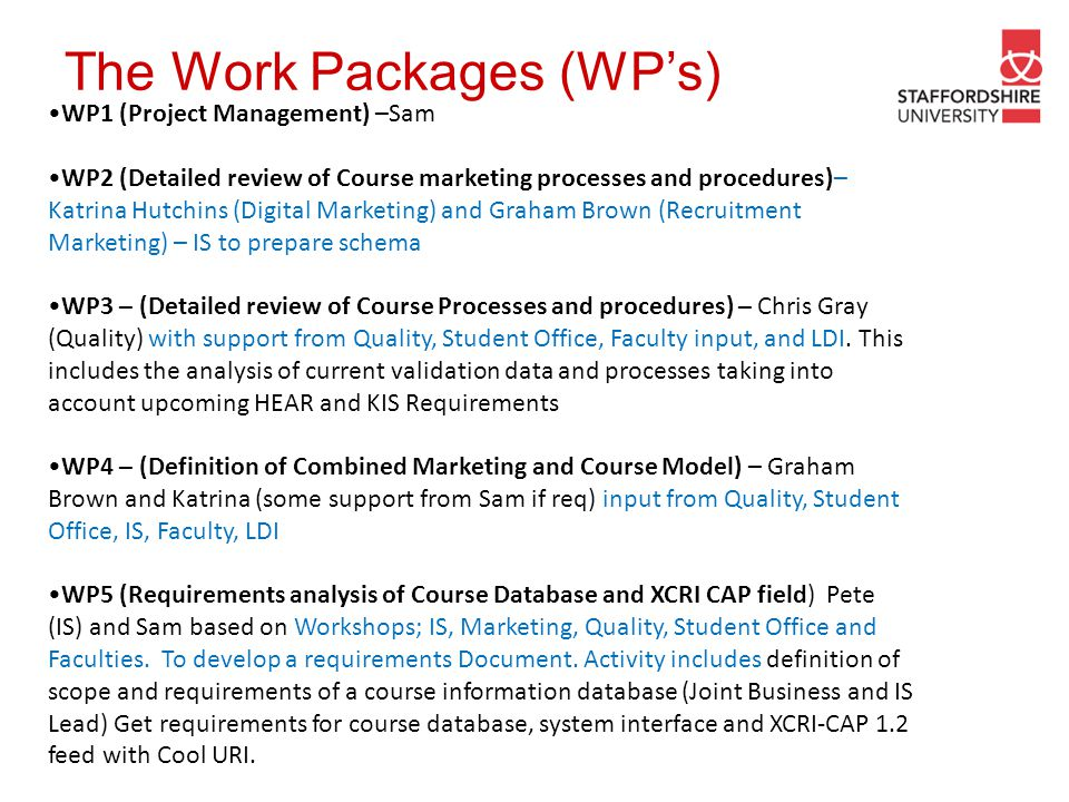 The Work Packages (WP's)
