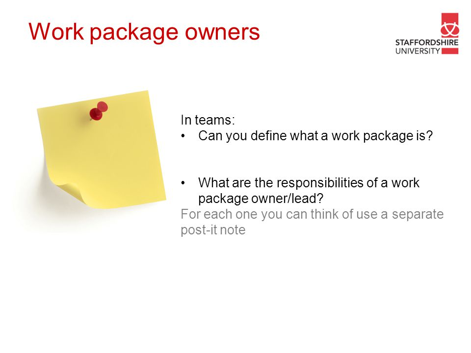 Work package owners In teams: Can you define what a work package is