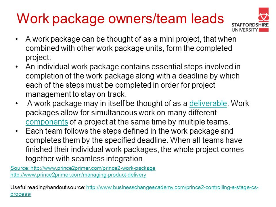 Work package owners/team leads