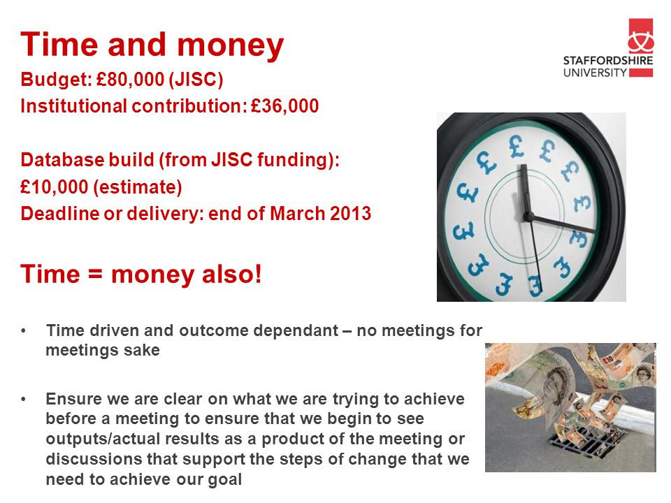 Time and money Time = money also! Budget: £80,000 (JISC)