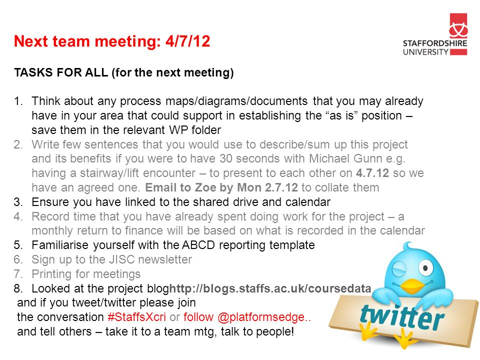 Next team meeting: 4/7/12 TASKS FOR ALL (for the next meeting)