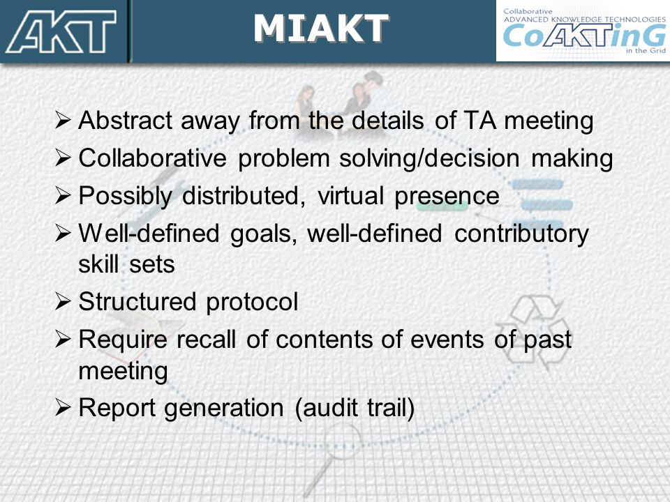 MIAKT Abstract away from the details of TA meeting