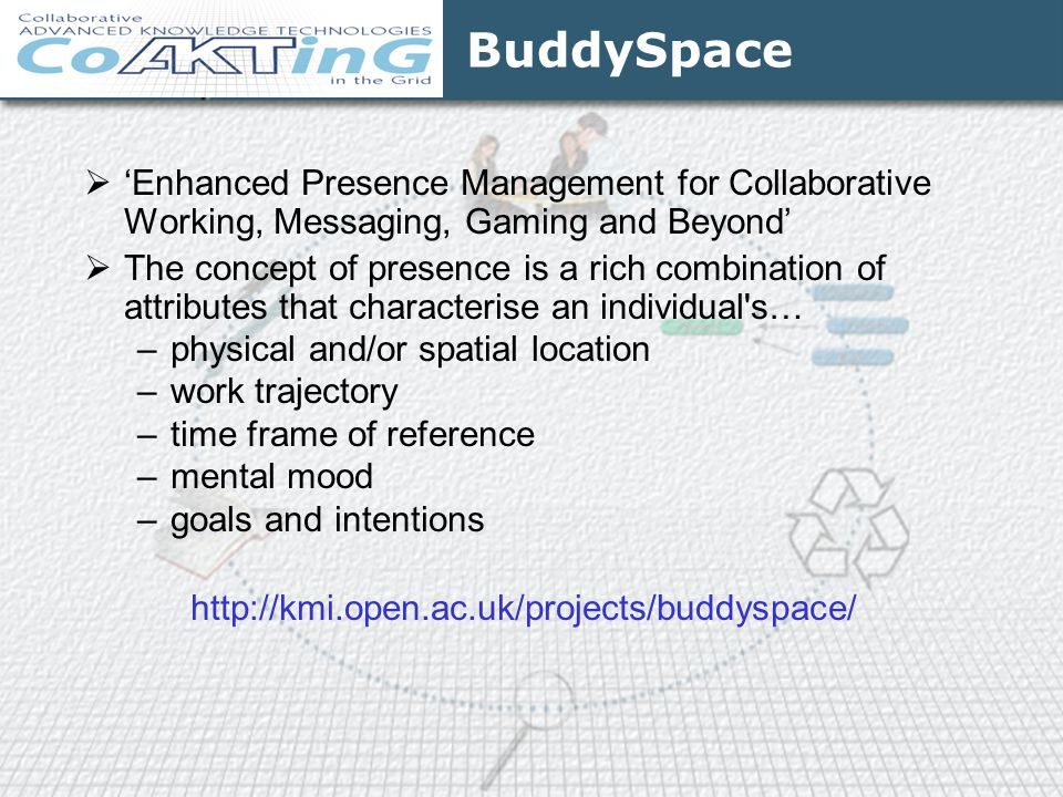 BuddySpace 'Enhanced Presence Management for Collaborative Working, Messaging, Gaming and Beyond'