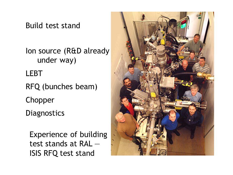 Build test stand Ion source (R&D already. under way) LEBT. RFQ (bunches beam) Chopper. Diagnostics.