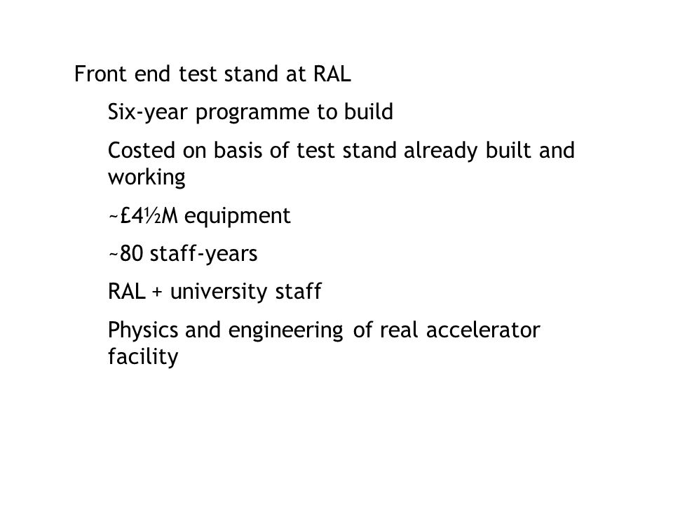 Front end test stand at RAL