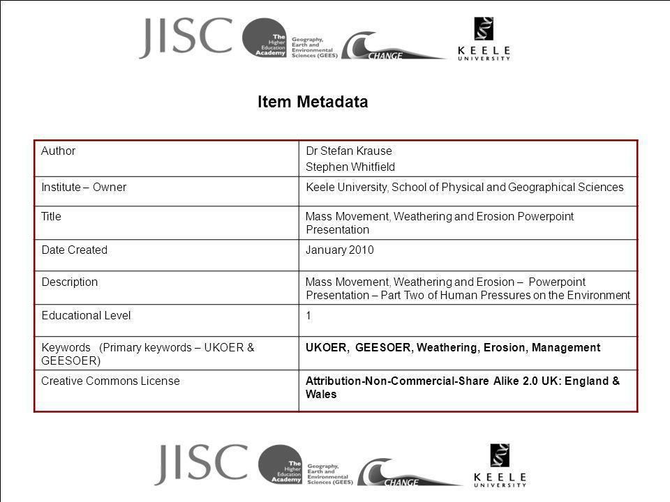 Item Metadata Author Dr Stefan Krause Stephen Whitfield