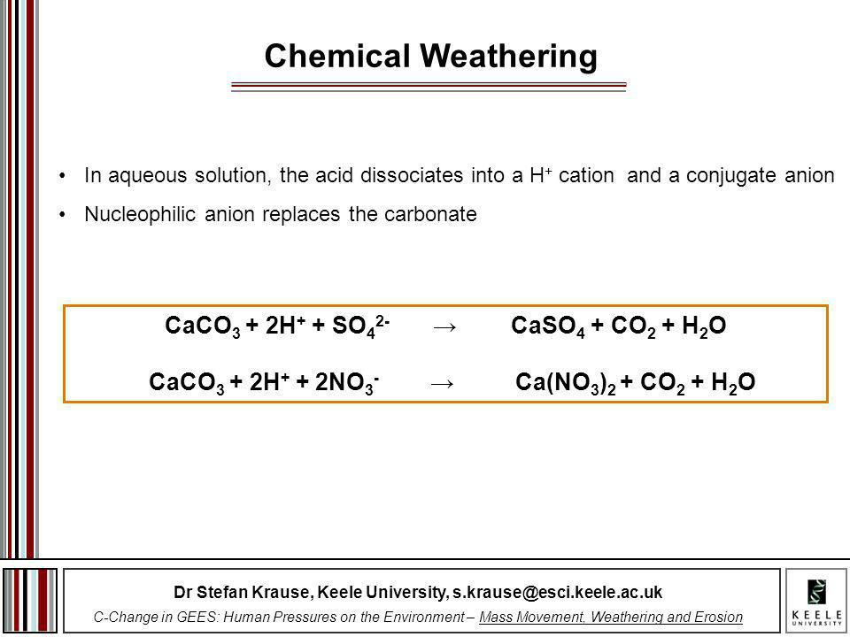 Chemical Weathering CaCO3 + 2H+ + SO42- → CaSO4 + CO2 + H2O