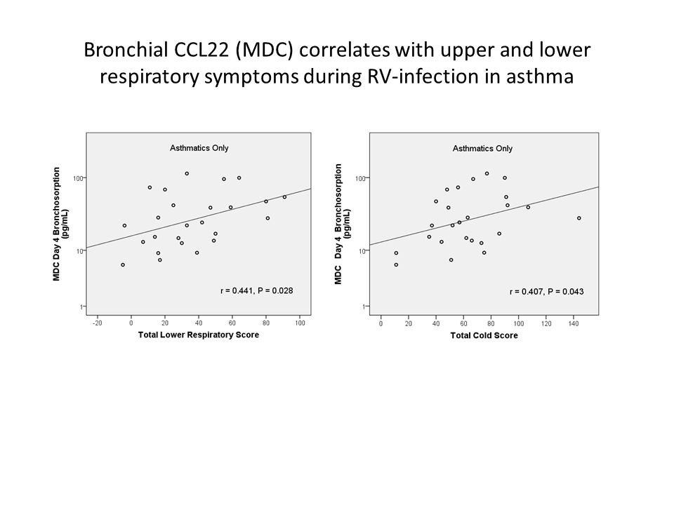 Bronchial CCL22 (MDC) correlates with upper and lower respiratory symptoms during RV-infection in asthma