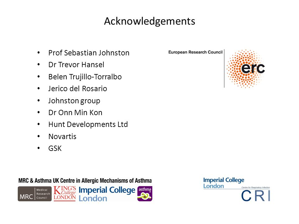 Acknowledgements Prof Sebastian Johnston Dr Trevor Hansel