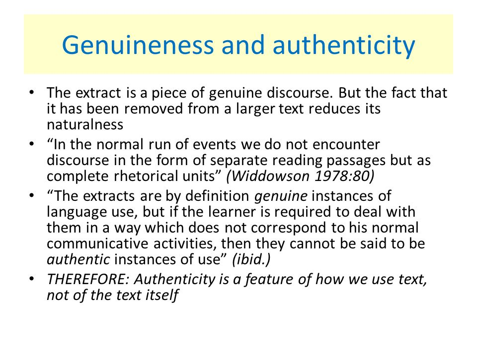 Genuineness and authenticity