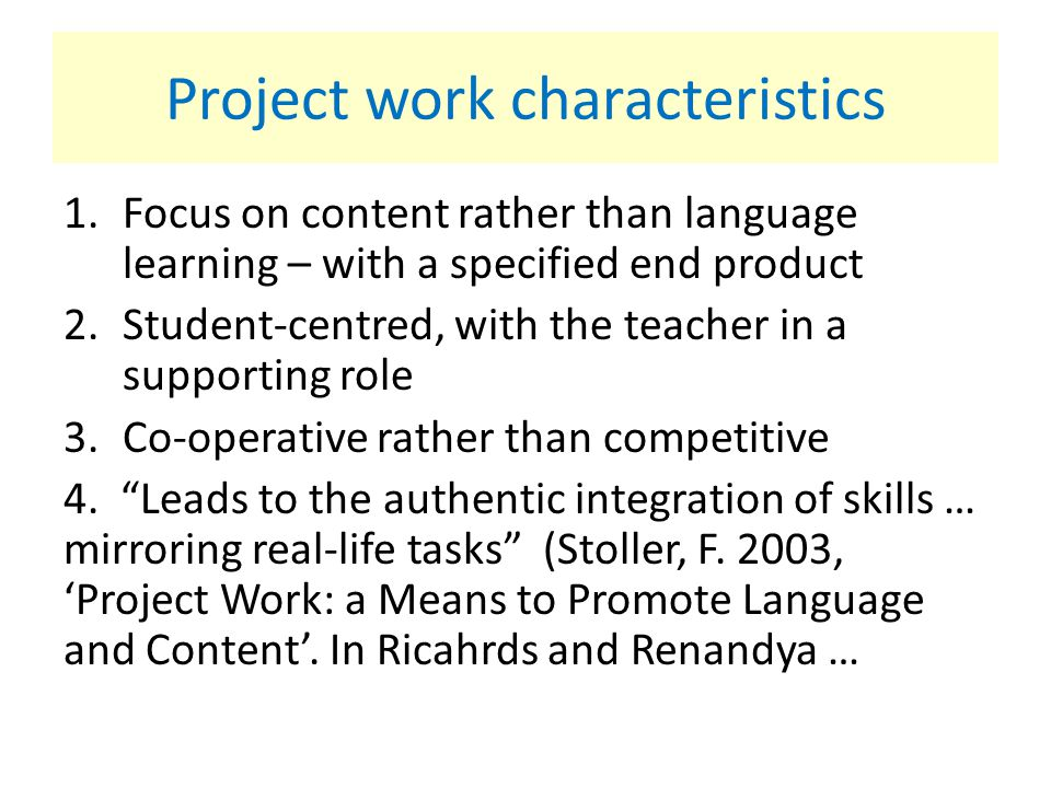 Project work characteristics