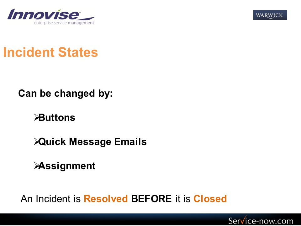 Incident States Can be changed by: Buttons Quick Message Emails