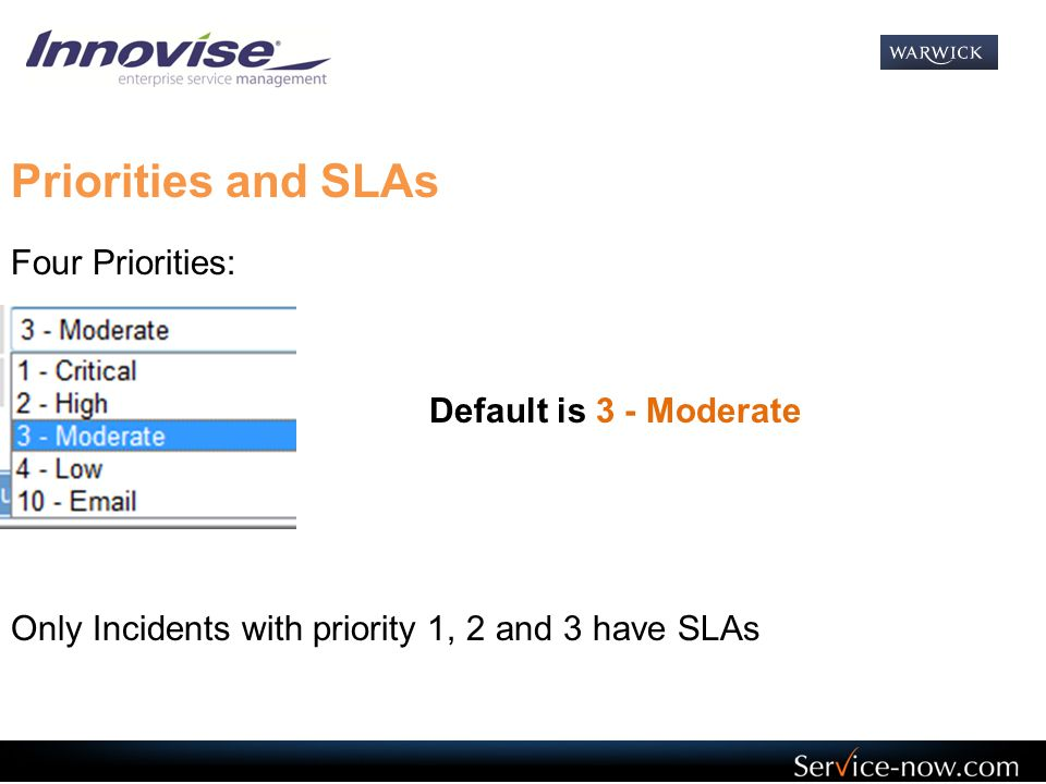 Priorities and SLAs Four Priorities: Default is 3 - Moderate