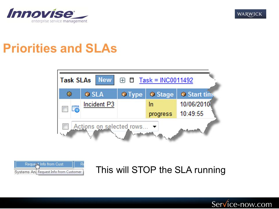 Priorities and SLAs This will STOP the SLA running