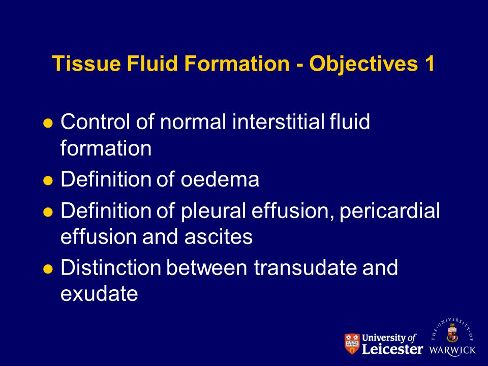 Tissue Fluid Formation - Objectives 1