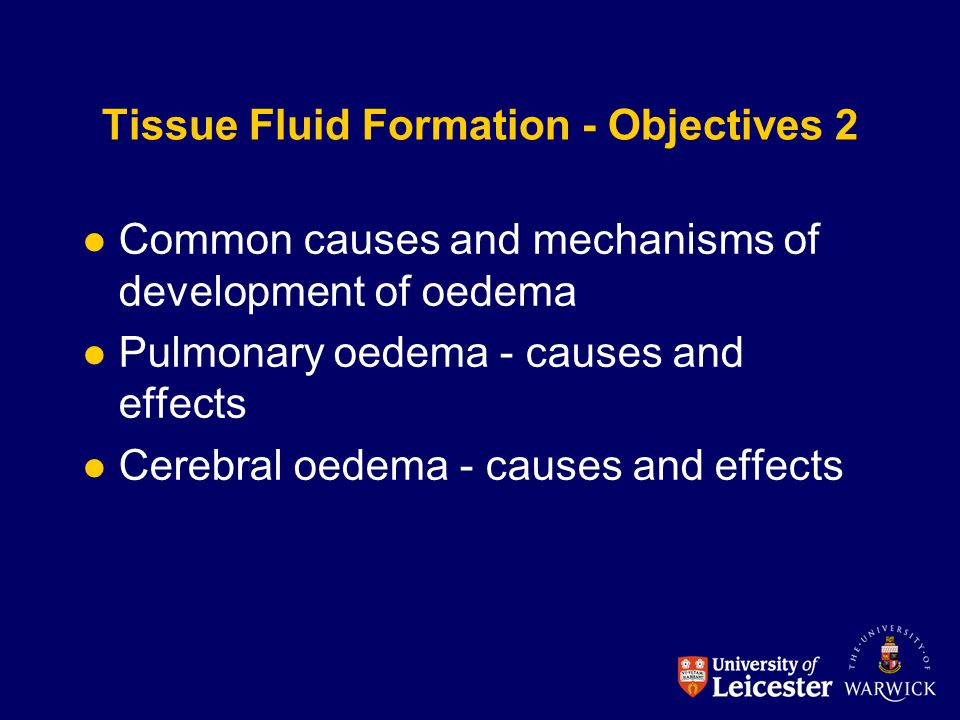 Tissue Fluid Formation - Objectives 2