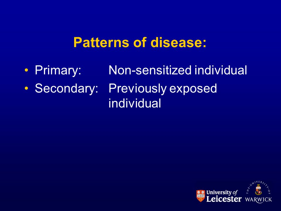 Patterns of disease: Primary: Non-sensitized individual