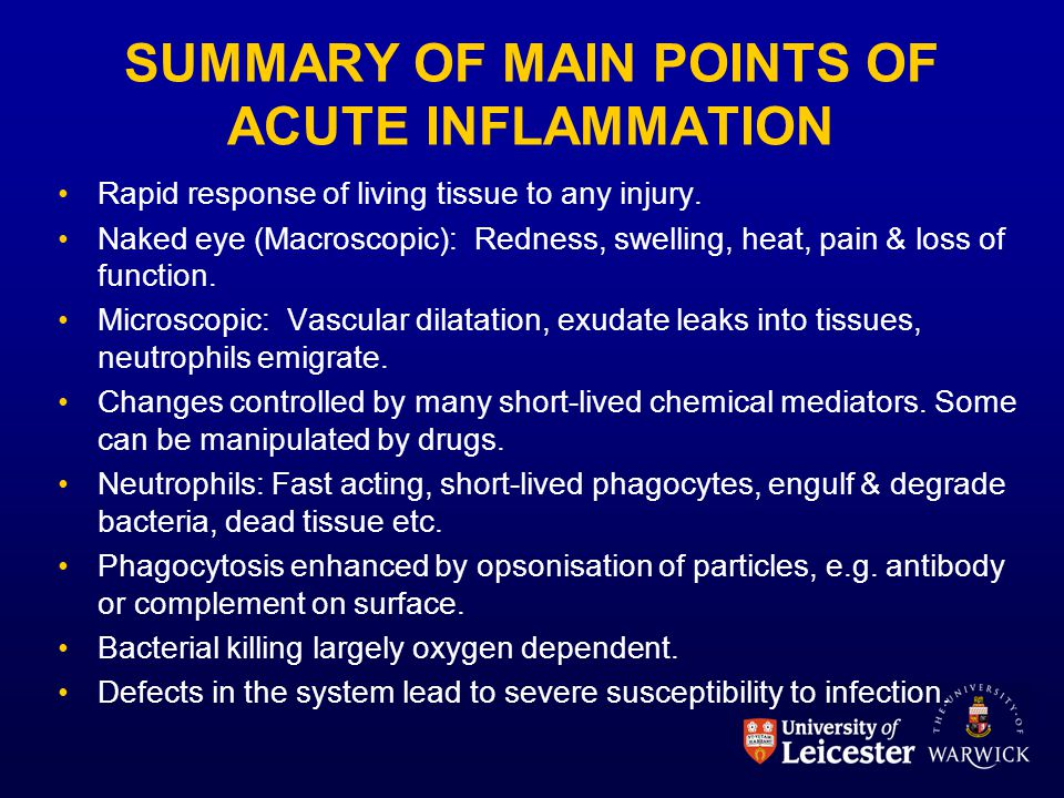 SUMMARY OF MAIN POINTS OF ACUTE INFLAMMATION