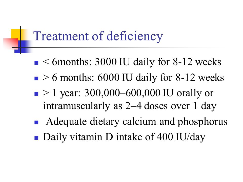 Treatment of deficiency