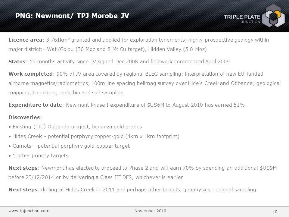 PNG: Newmont/ TPJ Morobe JV
