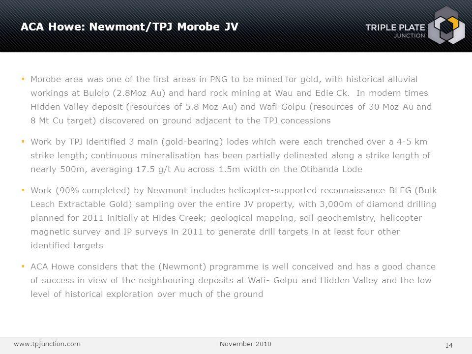 ACA Howe: Newmont/TPJ Morobe JV