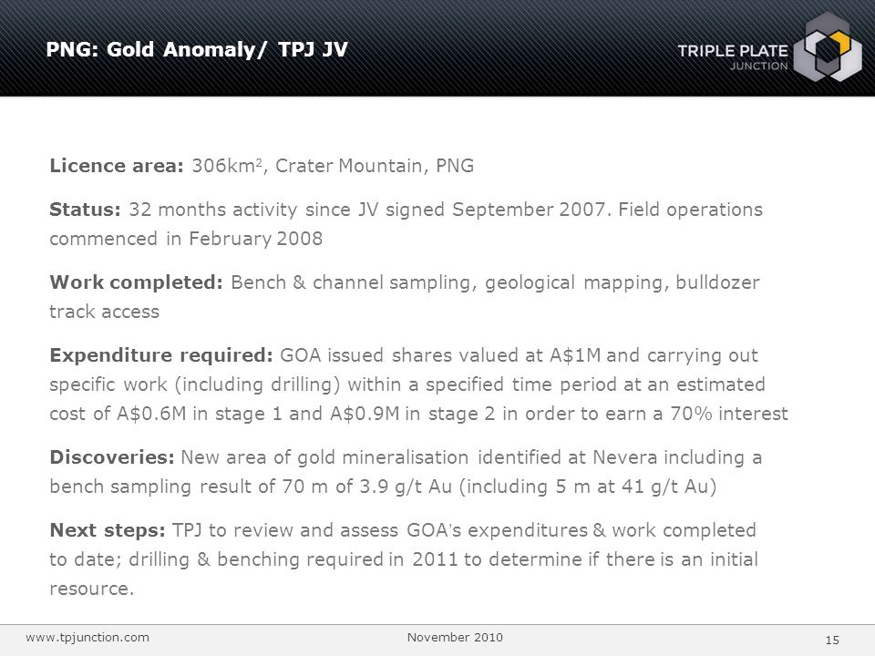 PNG: Gold Anomaly/ TPJ JV