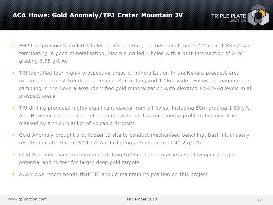 ACA Howe: Gold Anomaly/TPJ Crater Mountain JV