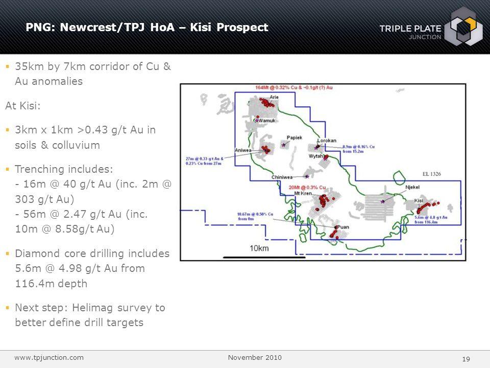 PNG: Newcrest/TPJ HoA – Kisi Prospect