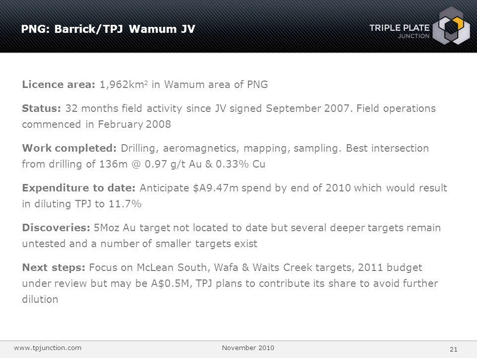 PNG: Barrick/TPJ Wamum JV