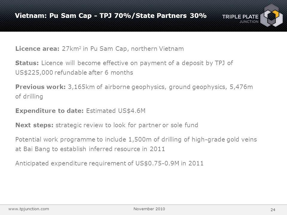 Vietnam: Pu Sam Cap - TPJ 70%/State Partners 30%