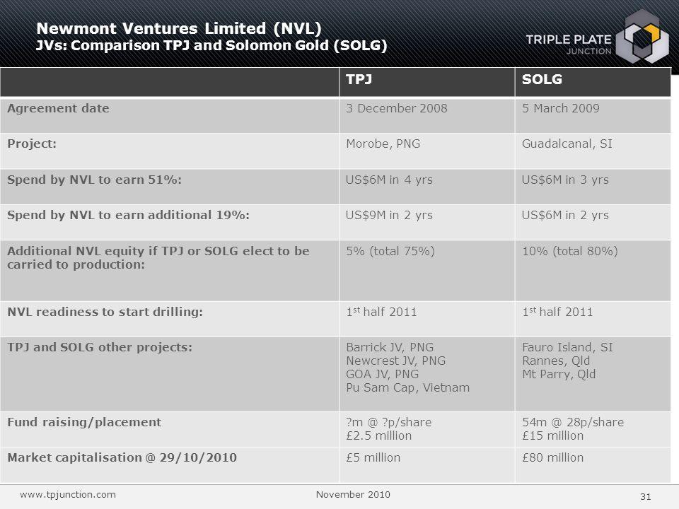 Newmont Ventures Limited (NVL) JVs: Comparison TPJ and Solomon Gold (SOLG)
