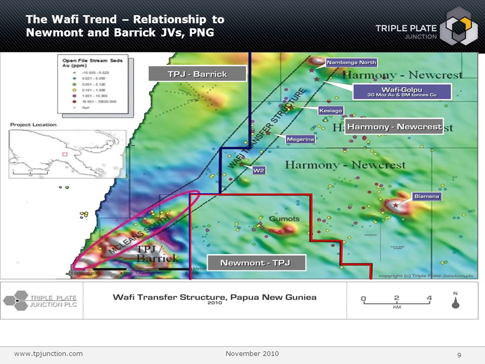 The Wafi Trend – Relationship to Newmont and Barrick JVs, PNG