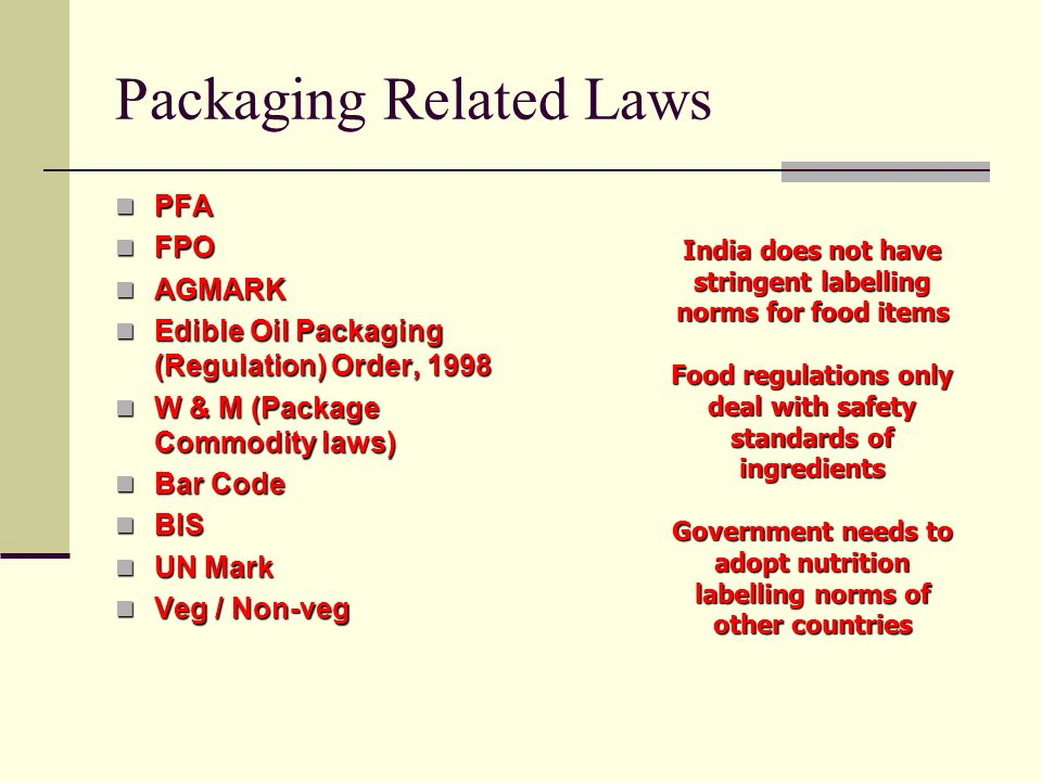 Packaging Related Laws