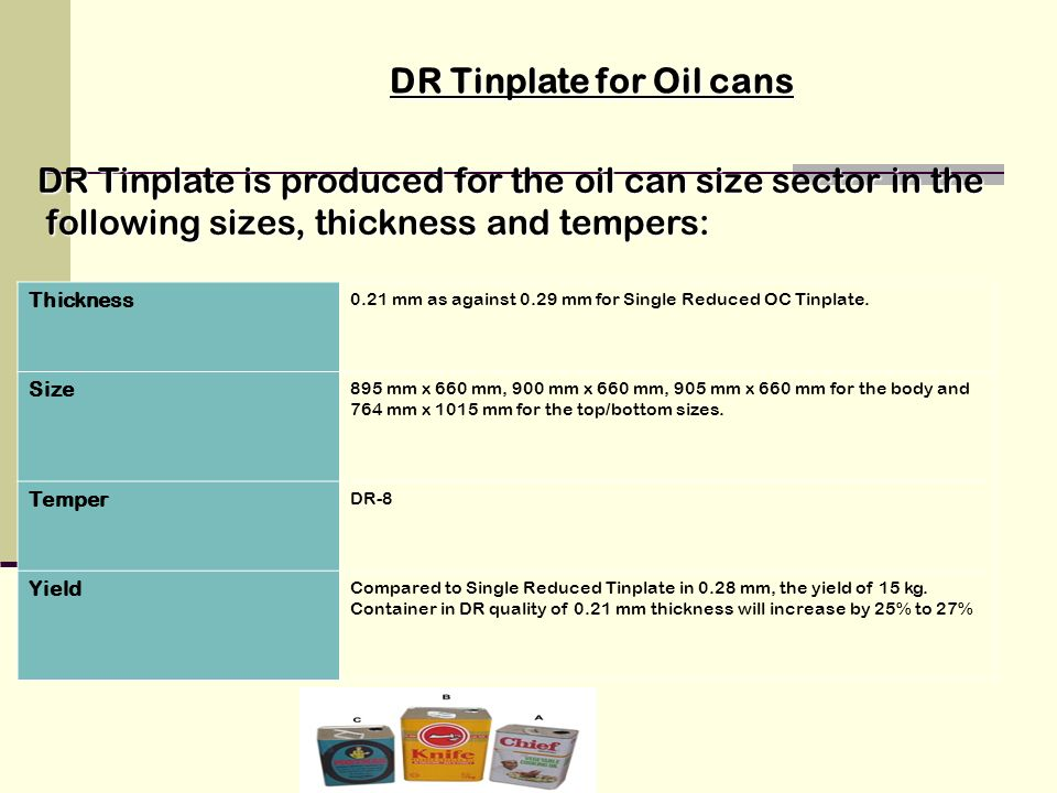 DR Tinplate for Oil cans