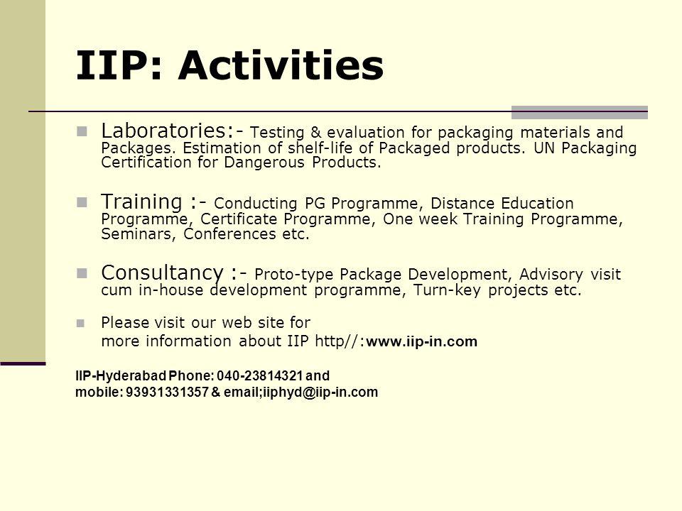 IIP: Activities