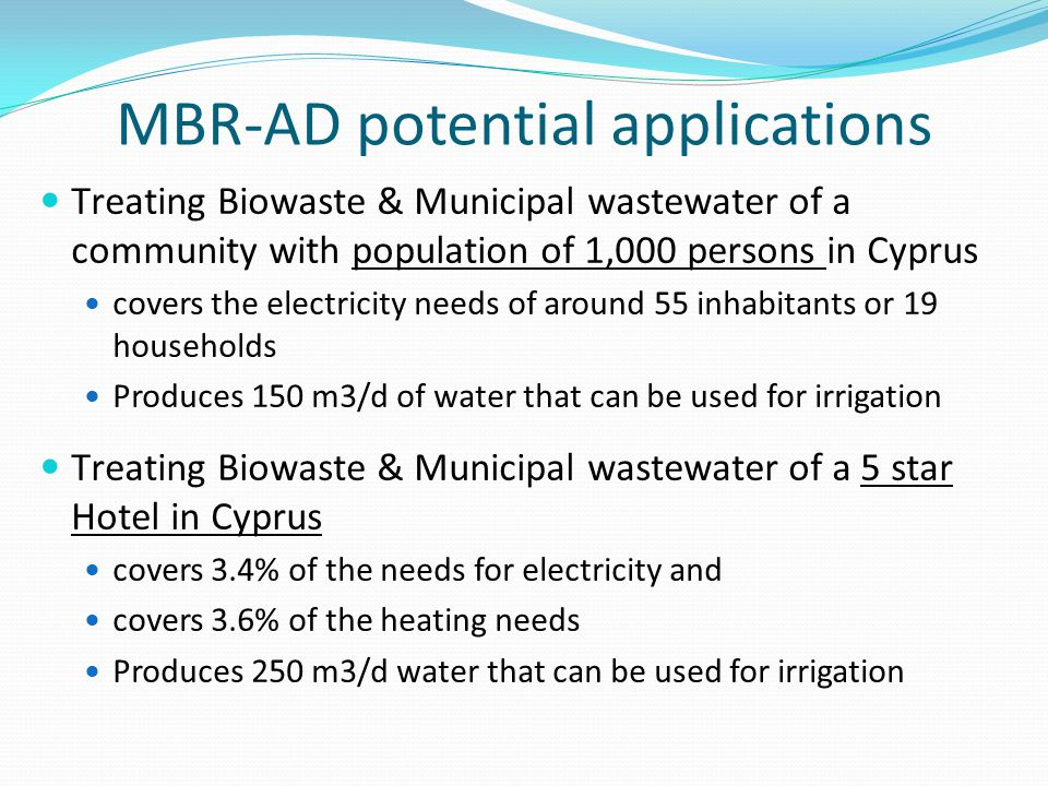 MBR-AD potential applications