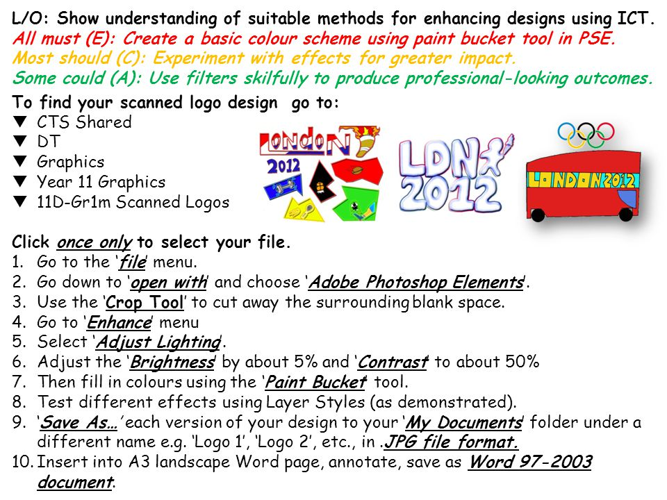 L/O: Show understanding of suitable methods for enhancing designs using ICT.