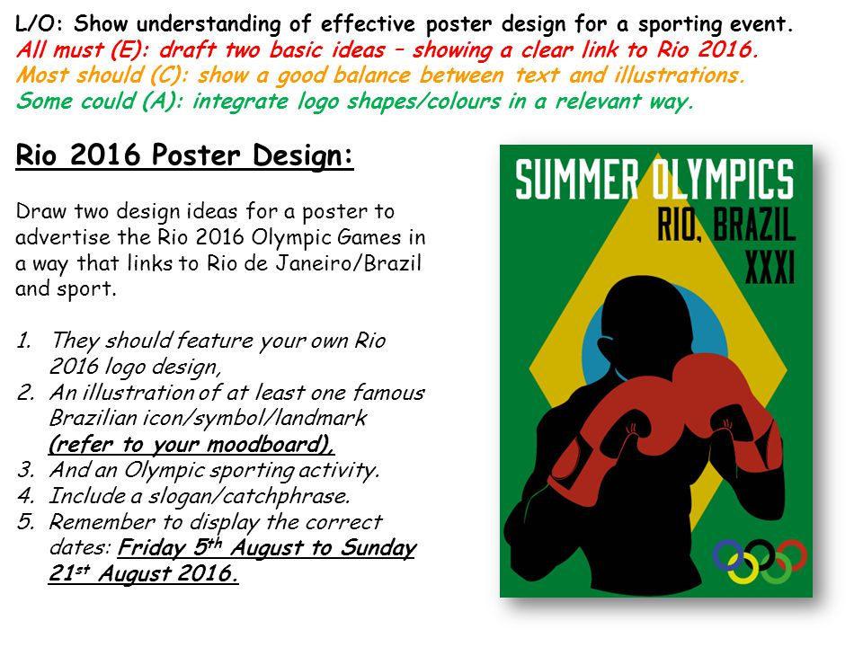 L/O: Show understanding of effective poster design for a sporting event.