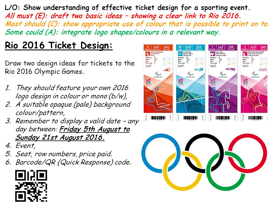 L/O: Show understanding of effective ticket design for a sporting event.