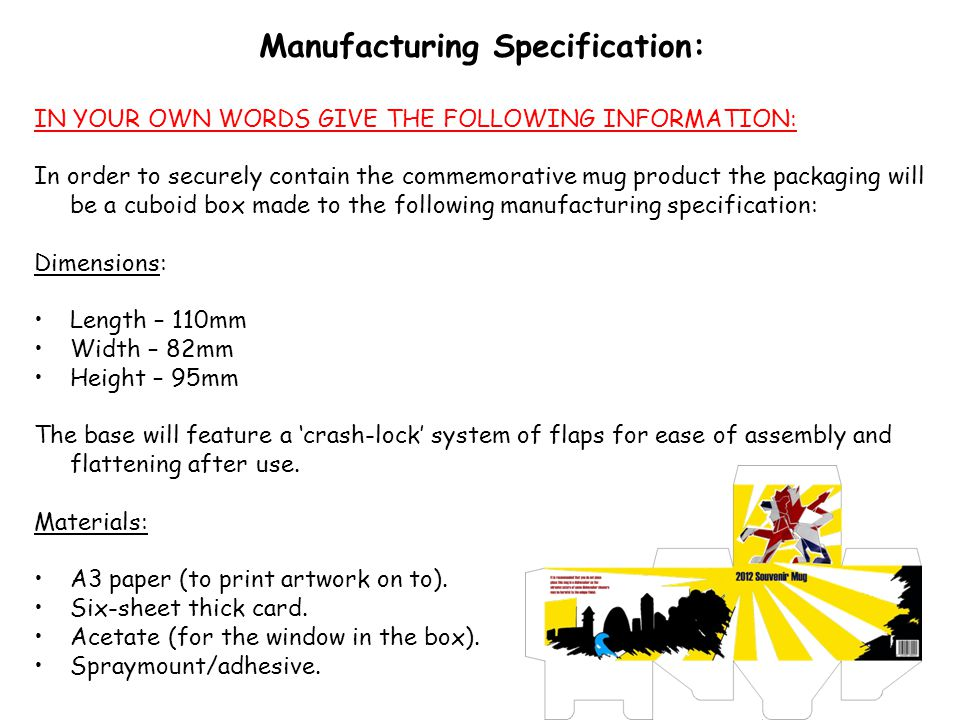 Manufacturing Specification: