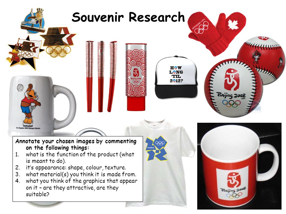 Souvenir Research Annotate your chosen images by commenting on the following things: what is the function of the product (what is meant to do).