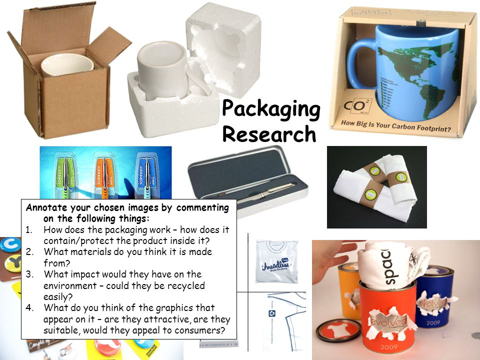 Packaging Research. Annotate your chosen images by commenting on the following things: