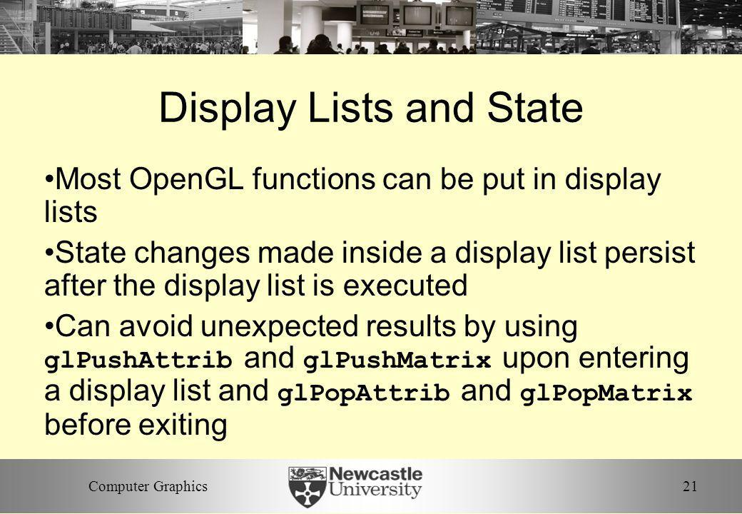 Display Lists and State