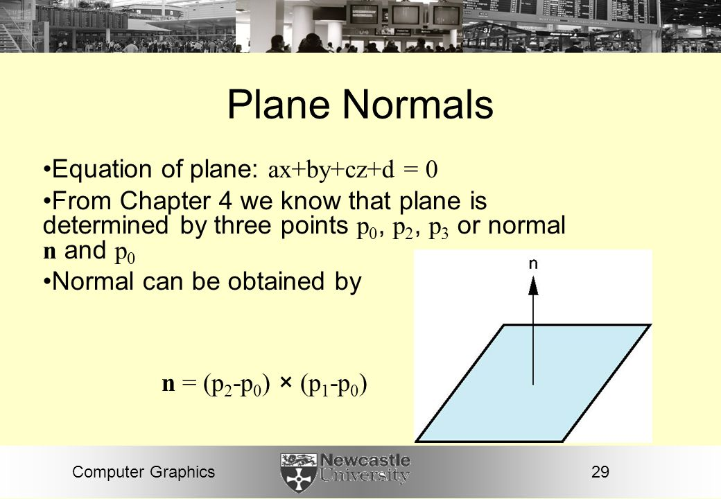 Plane Normals Equation of plane: ax+by+cz+d = 0